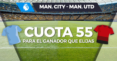 Megacuota doble: Manchester City o Manchester United gana a cuota 55